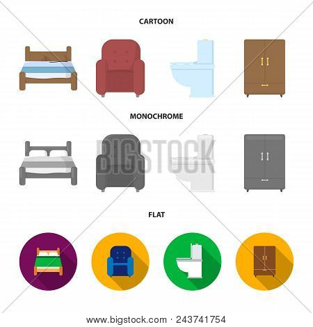 A Bed, An Armchair, A Toilet, A Wardrobe.furniturefurniture Set Collection Icons In Cartoon, Flat, M