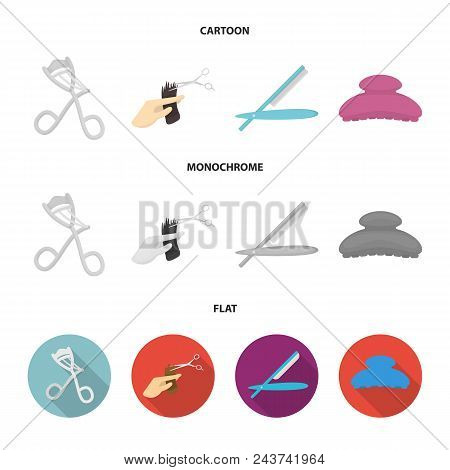 Scissors, Brush, Razor And Other Equipment. Hairdresser Set Collection Icons In Cartoon, Flat, Monoc