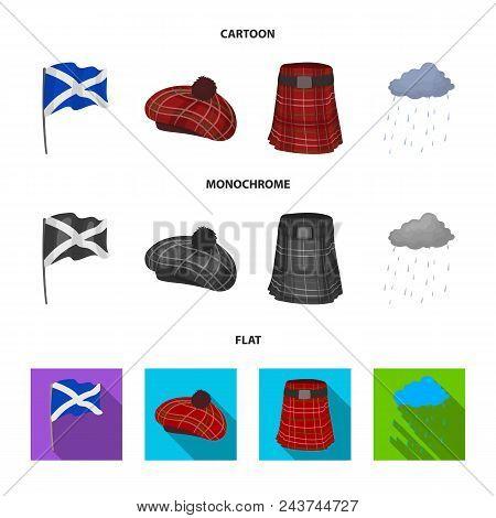 Flag, Kilt, Rainy Weather, Cap.scotland Country Set Collection Icons In Cartoon, Flat, Monochrome St
