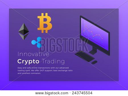 Crypto Trading Isometric Illustration. Cryptocurrency Bitcoin Trading Platform Concept.