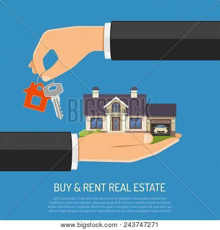 Buy, Sale, Purchase, Lease, Rent Of Real Estate Concept. Hand With Keys And Hand With House. Flat St