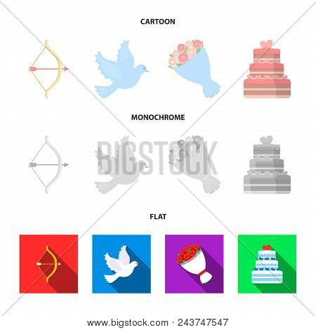 Arrow Cupid, Dove, Bouquet Of Flowers, Wedding Cake. Wedding Set Collection Icons In Cartoon, Flat,
