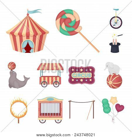 Circus And Attributes Cartoon Icons In Set Collection For Design. Circus Art Vector Symbol Stock  Il