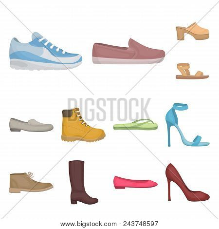 c00c6718b4d6 A Variety Of Shoes Cartoon Icons In Set Collection For Design. Boot,  Sneakers Vector