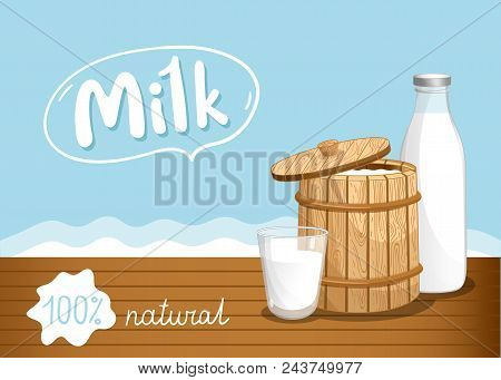 Farmers Market Banner With Dairy Products. Natural Organic Dairy Product, Fresh And Healthy Farm Foo