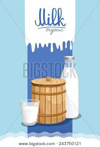 Healthy Farm Food Banner With Dairy Products. Natural Organic Dairy Product, Traditional And Fresh M