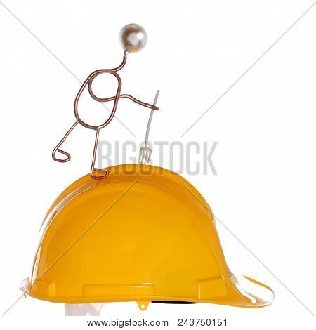 Symbolic Worker With Gavel And Yellow Helmet
