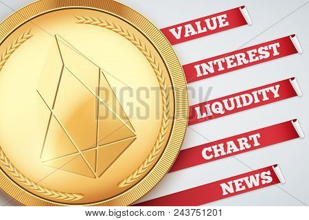 Background Of Eos Cryptocurrency Infographic. Knowledge And Information Of Cryptocurrency. Editable