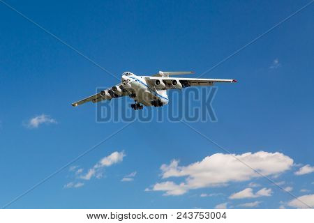 Moscow, Russia - Russian Cargo Plane Ilyushin Il-76 Landing In Sheremetyevo 2, Moscow Airport Agains
