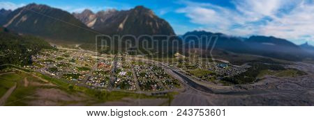 Aerial view of the city of Chaiten with tilt shift effect applied, Chile