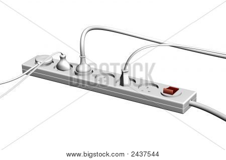 3D Render Of The Gray Electrical Socket On A White Background