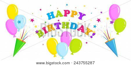 Birthday Banner, Greeting Banner With Balloons And Party Crackers, Party Poppers And Stars, Multicol