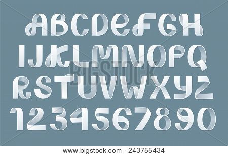 Paper Folding Alphabet Vector. White Ribbon Script Font. Vector Of Modern Stylized Paper Font. Alpha