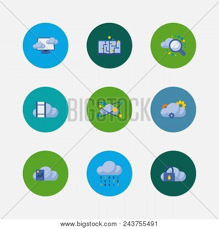 Cloud Service Icons Set. Machine Learning And Cloud Service Icons With Image Storage, Cloud Code And