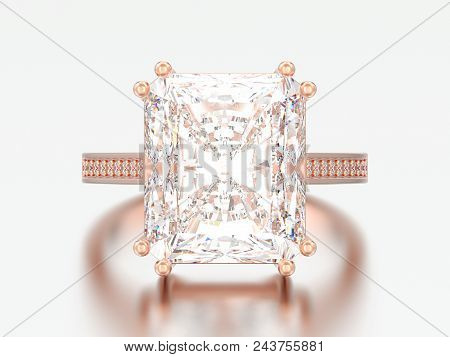 3d Illustration Rose Gold Traditional Solitaire Engagement Diamond Ring With Radiant Diamond On A Gr