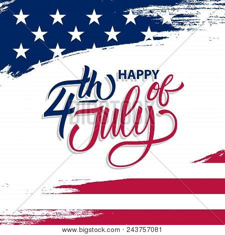 Usa Independence Day Greeting Card With Brush Stroke Background In United States National Flag Color