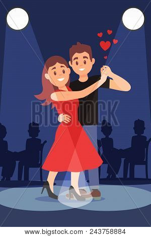 Young Romantic Couple Dancing Tango Under Bright Spotlights In Restaurant. Cartoon Character Of Guy