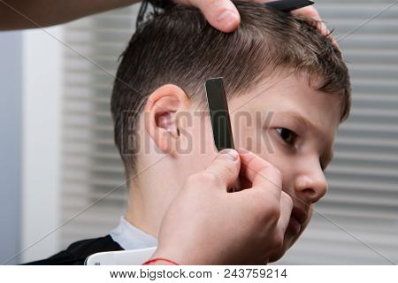 Hairdresser Adjusts Hair Style To Boy, Styling, Profession,