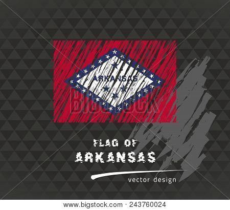 Arkansas Flag, Vector Sketch Hand Drawn Illustration On Dark Grunge Background