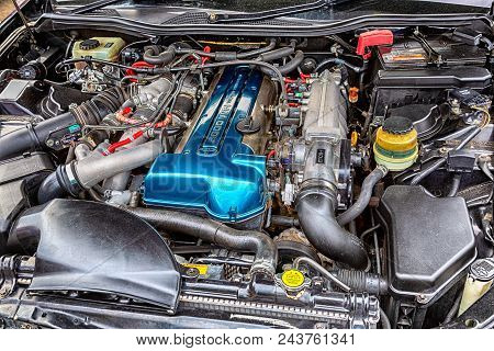 Samara, Russia - May 19, 2018: Tuned Turbo Car Engine Of Toyota In Vehicle, Under The Hood Of A Vehi