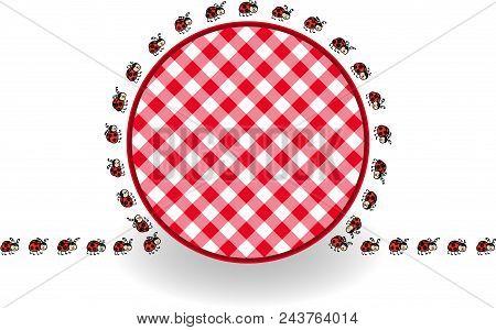 Scalable Vectorial Representing A Ladybugs Around Label Picnic Plaid, Element For Design, Illustrati