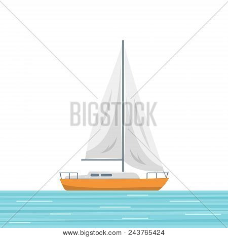 Sailboat Isolated Vector Illustration. Small Boat With A Sail, Sailing Ship On The Sea. Flat Style I