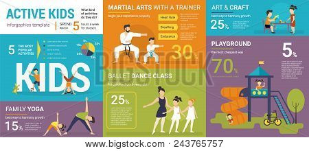 Active Kids Infographics Vector Illustration Of Children Classes With Graphs And Diagrams. Flat Temp