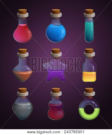 Glass Bottles At Different Shapes With Various Liquid Poison. Tools For Game Design Projects. Alchem
