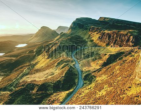 Sunny Morning In Quiraing Mountains. Hilly Landscape Of Isle Of Skye, Scottish Highlands. Breathtaki