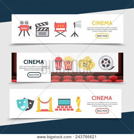 Flat Cinema Horizontal Banners With Movie Camera Clapboard Director Chair Projector Soda Popcorn Tic