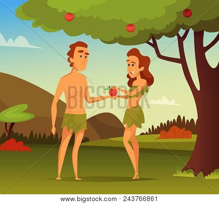 Background picture of Biblical story. Temptation Of Adam. Illustration of first man and woman. Vector male and female in apple garden poster
