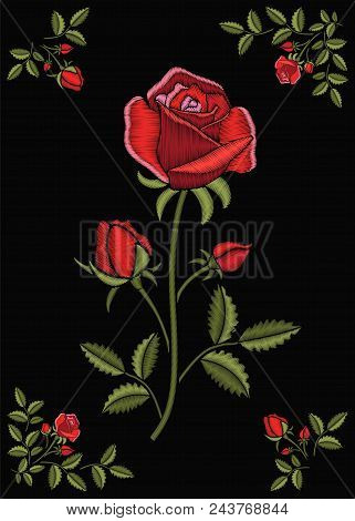Floral Stitched Ornament With Stitch Rose. Embroidery Flower On A Dark Flap Cloth Background. Orname