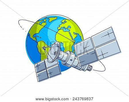 Satellite Flying Orbital Flight Around Earth, Communication Technology Spacecraft Space Station With