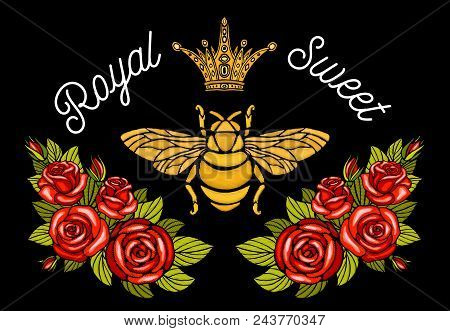 Bee Crown Flowers Embroidery Patch Roses Red. Wasp Honey Bee Bumblebee Floral Leaf Wings Insect Embr