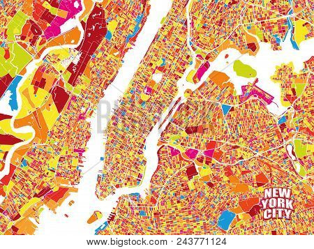 Colorful Vector Map Of New York City. Very Detailled Version Without Bridges And Names. Nyc Logo Gro