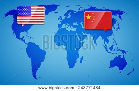 Usa And China At The Blue World Map Background. Trade War With America And China. International Busi
