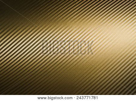 Metallic Shiny Texture Of Gold Carbon Fiber Self-adhesive Paper. Material For Racing Car Modificatio