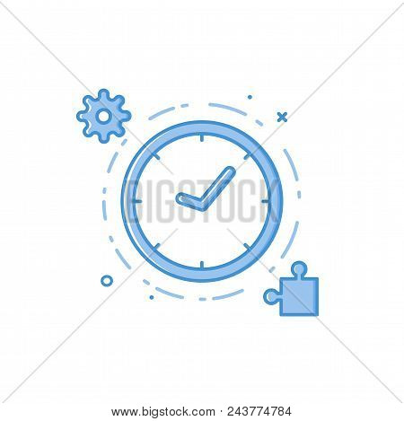 Vector Business Illustration Of Blue Colors Clock, Engineering And A Mosaic In Filled Line Style. Gr