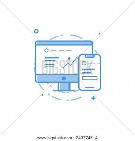 Vector Business Illustration Of Blue Colors Desktop Computer And Mobile Smart Phone In Filed Line St