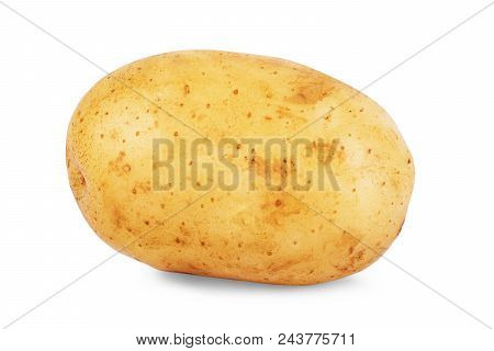 Isolated Potatoes. Cut Raw Potato Vegetables Isolated On White Background With Clipping Path