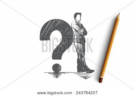 Problem Concept. Hand Drawn Thinking Person And Question Mark. Man Looking For Answer Isolated Vecto