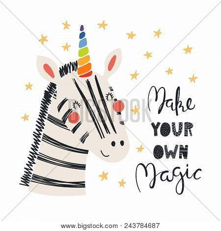69bcda1f46a63 Hand Drawn Vector Illustration Of A Cute Funny Zebra With A Unicorn Horn