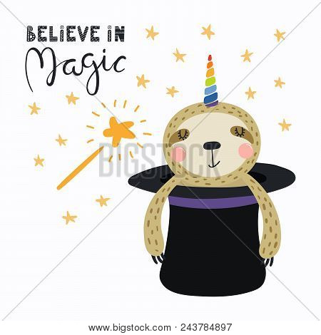 Hand Drawn Vector Illustration Of A Cute Funny Sloth Appearing From A Magician Top Hat, With Letteri
