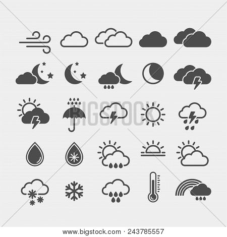 Weather Flat Vector Icons Set. Weather Forecast Flat Vector Icons