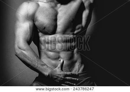 Sweet Gay. Sugar Boy. Handsome Young Macho Man With Muscular Sexy Body And Six Packs On Torso In Pan