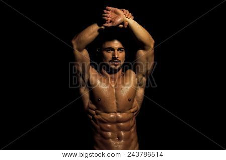 Work Out. Dieting And Fitness. Coach Sportsman With Bare Chest. Athletic Bodybuilder Man Isolated On