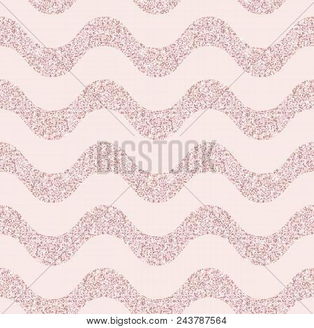 Pink Glitter Vector Seamless Pattern. Elegant Geometric Wallpaper With Horizontal Wavy Lines, Stripe