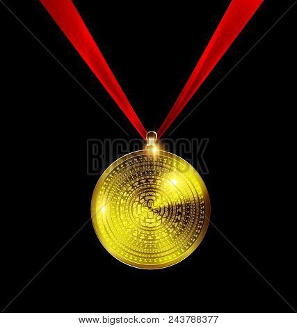 Dark Background With Golden Pendant Medal Image Of Circle Consisting Of Lines And Figures With Red T