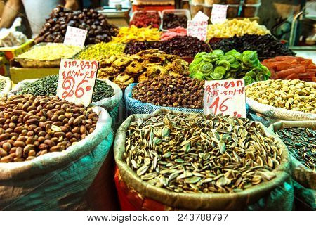Heap Of Nuts And Sunflower Seeds, Pistachio In Bags
