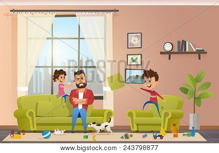 Annoyed And Angry Father With Clenched Teeth Sitting At Sofa While Naughty Children Playing And Maki